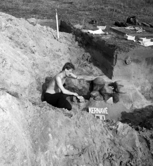 1990 m. Kapinyno ir gyvenvietės Pajautos slėnyje tyrimai. A. Luchtanas preparuoja kapą. Fotografas nežinomas