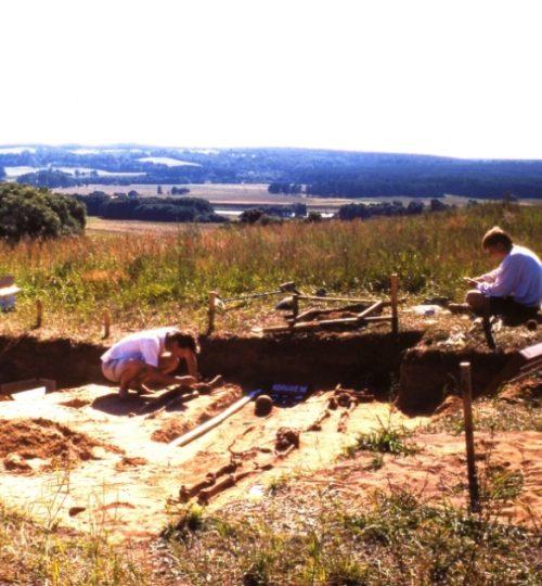 Kernavės-Kriveikiškio kapinyno tyrimai. A. Luchtanas (tupi centre) preparuoja kapą. Fotografas nežinomas